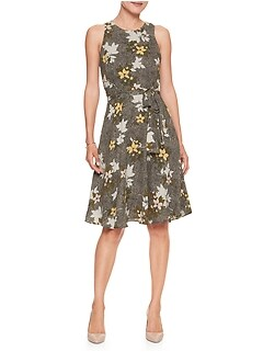 Petite Floral Print Belted Fit and Flare Dress