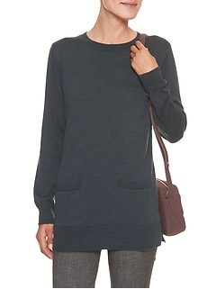 Pocket Tunic Crew Neck Sweater
