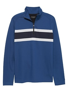 Stripe Moisture Wicking Half Zip Sweatshirt