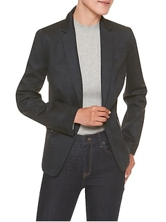 Machine Washable Plaid Ponte Cutaway Suit Blazer