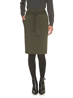 Petite Tie Waist Pencil Skirt