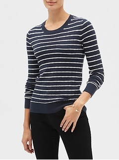 Striped Cable Crew Neck Sweater