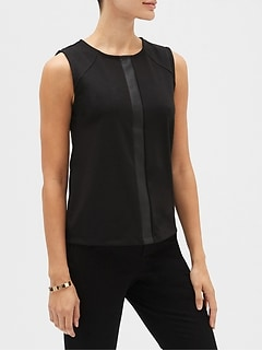 Vegan Leather Trim Top