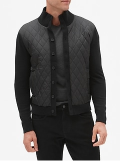 Nylon Quilt Sweater Jacket