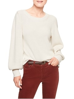 Petite Lantern Sleeve Mock Neck Sweater