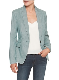 Petite Machine Washable Herringbone Cutaway Suit Blazer