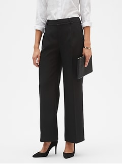 Blake Piped-Waist Pleated Wide Leg Pant