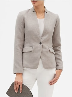 Petite Inverted Collar Double Cloth Cutaway Blazer