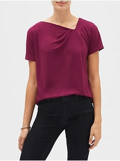 Crepe Asymmetrical Twist Neck Top