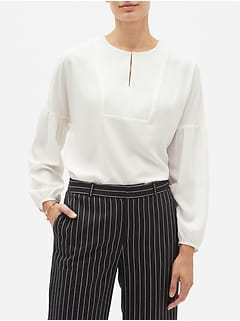 Textured Bib Balloon-Sleeve Blouse