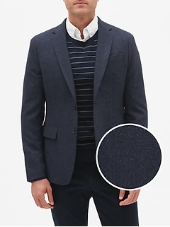 Slim-Fit Navy Wool Blend Blazer