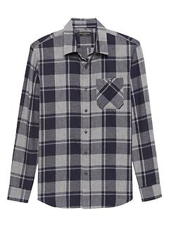 Slim-Fit Lightweight Flannel Shirt
