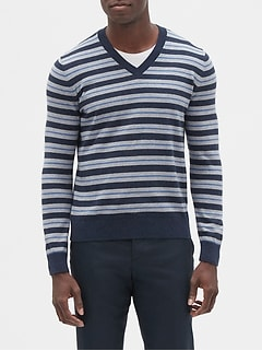 Feeder Stripe V-Neck Pullover Sweater