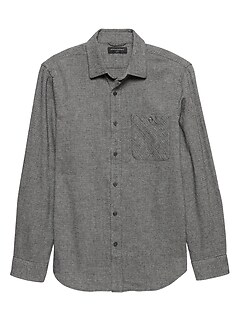 Textured Slim-Fit Heavyweight Flannel Shirt