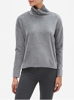 Velour Funnel Neck Sweatshirt