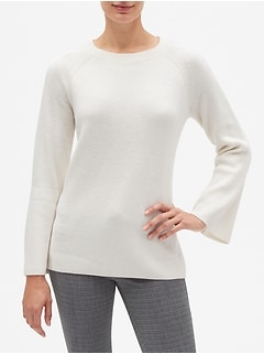Bell Sleeve Shaker Stitch Crew Neck Sweater