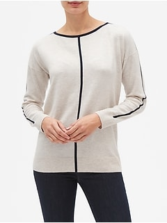 Tipped Boatneck Pullover Sweater