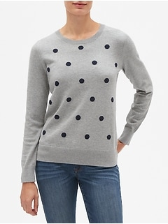 Petite Dot Print Machine Washable Forever Crew Neck Sweater
