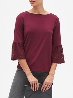 Lace Bell Cuff Sleeve Top