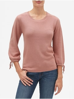 Tie Sleeve Crew Neck Sweater