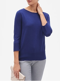 Ottoman Sleeve Boatneck Pullover Sweater