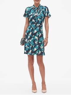 Print Twist Neck Fit and Flare Dress