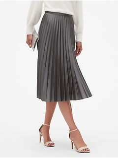 Petite Satin Sheen Pleated Midi Skirt