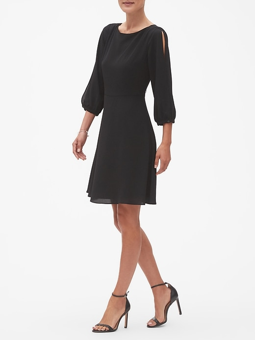 Split Sleeve Fit And Flare Dress Banana Republic Factory