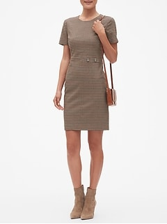 Tattersall Button Detail Sheath Dress