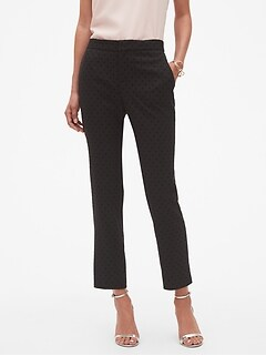 Petite Slim Flocked Dot Fashion Pant