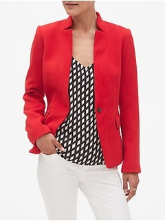 Inverted Collar Double Cloth Cutaway Blazer
