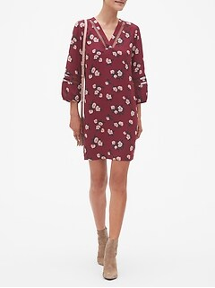 Petite Print Lantern Inset Shift Dress