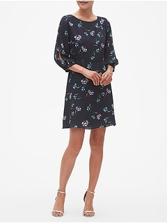 Petite Print Split Sleeve Fit and Flare Dress