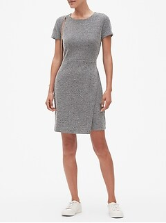 Petite Novelty Knit Wrap Sheath Dress