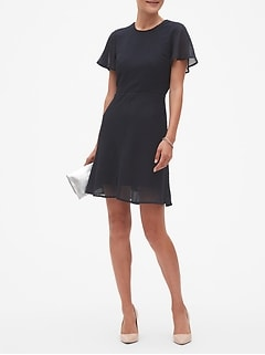 Petite Textured Crew Neck Fit and Flare Dress