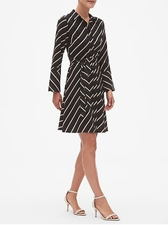 Petite Stripe Tailored Shirt Dress