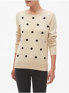 Dot Print Machine Washable Forever Crew Neck Sweater