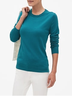 Premium Luxe Double Scallop Crew Neck Sweater