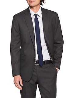 Standard-Fit Stretch Charcoal Blazer