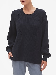 Shaker Stitch Crew Neck Sweater