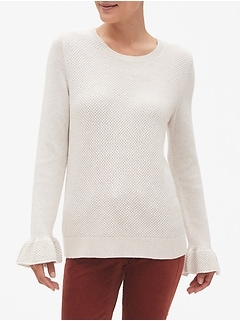 Flare Sleeve Textured Crew Neck Sweater