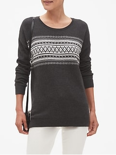 Charcoal Fair Isle Crew Neck Sweater