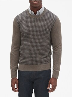 Houndstooth Crew Neck Pullover Sweater