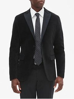 Slim-Fit Velvet Blazer