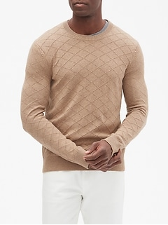 Diamond Stitch Crew Neck Pullover Sweater
