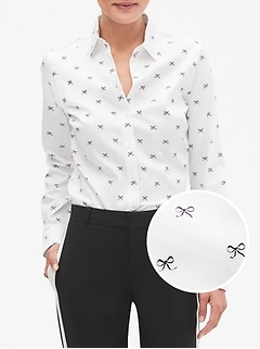 Petite Print Tailored Non-Iron Long Sleeve Shirt