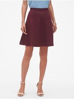 Petite Wool Blend Fit and Flare Skirt