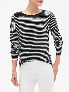 Stripe Allover Seed Crew Neck Sweater