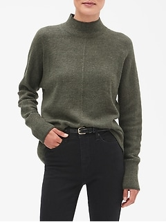 Cozy Wide Hem Mock Neck Sweater