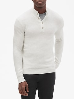 Textured Mock Neck Pullover Sweater